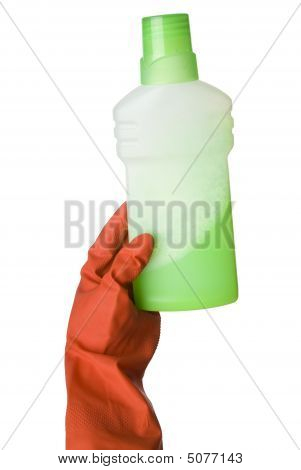 Green Bottle And Woman Hand In A Red Glove