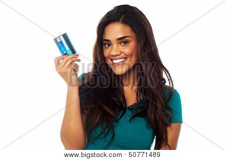 Attractive Model Displaying Her Credit Card