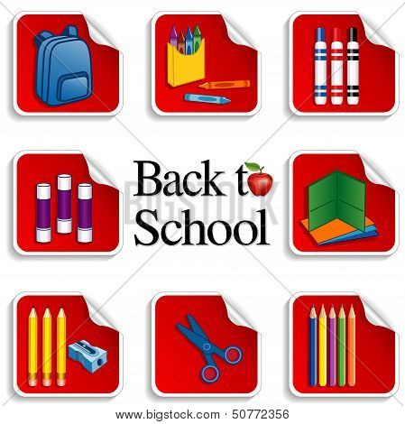 Back To School Stickers, Red Background