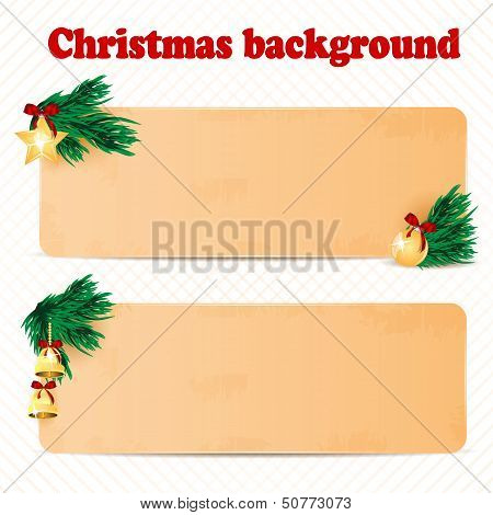 Two Sheets Of Paper Decorated With Fir Branches And Christmas Toys.christmas Background.vector