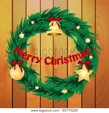 Christmas Wreath Decorated With Fir Toys On The Background Of Wooden Boards.vector