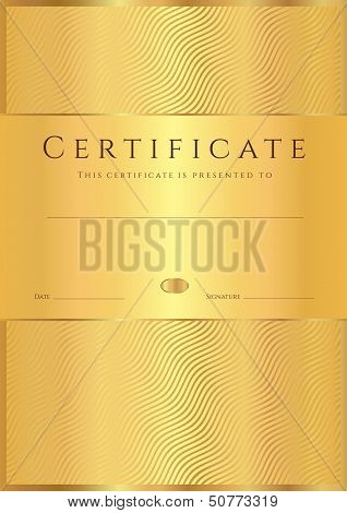 Certificate, Diploma of completion (Gold design template)