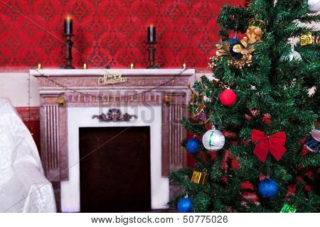 Christimas  Interior In Red Vintage Room
