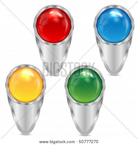 Set Silver Pointers Decorated With Multicolored Spheres