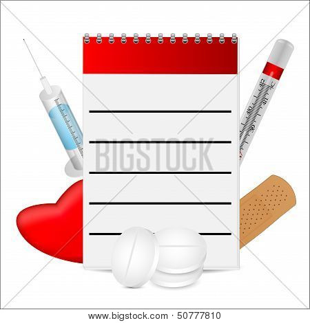 Notebook And Medetsinskie Objects On A White Background