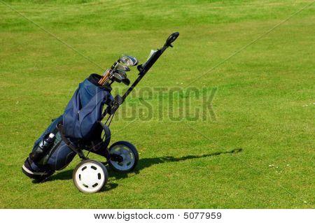 Blue Golf Bag On Green Fairway