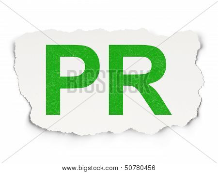 Marketing concept: PR on Paper background