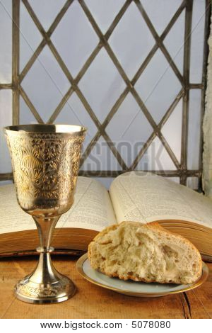 Communion Bread And Wine With Bible