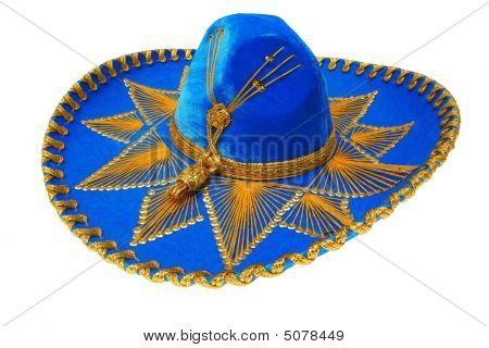 Nice Blue Sombrero Mexicano Isolated