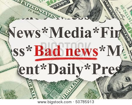 News concept: Bad News on Money background