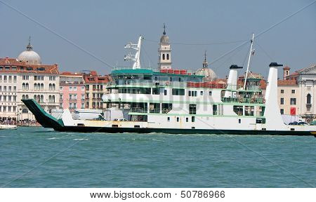 Huge Ferryboat For The Transport Of People And Cars In The Lagoon Of Venice