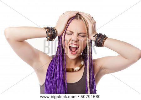 Woman with African plaits