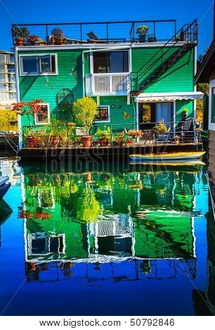 Green Houseboat Floating Home Village Fisherman's Wharf Reflection Inner Harbor, Victoria Vancouver