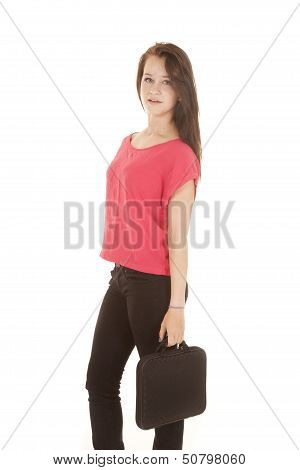 Teen Girl Holding On To A Brief Case Looking