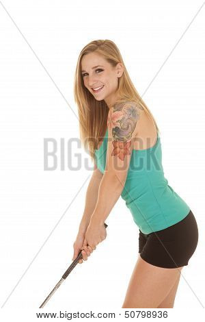 Woman Green Tank Golf Smiling