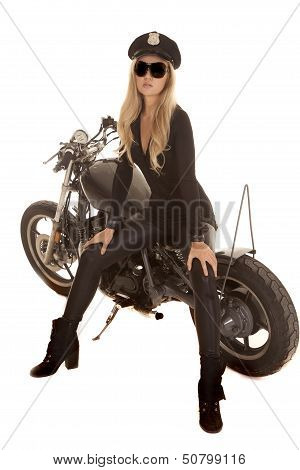 Woman Cop Motorcycle Sit Side