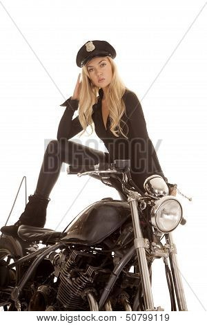 Woman Cop Motorcycle Stand Foot On