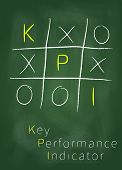 stock photo of performance evaluation  - Key performance indicator as tic tac toe game on blackboard - JPG