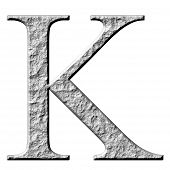 picture of letter k  - 3d stone Greek letter Kappa isolated in white - JPG