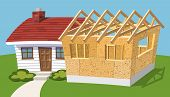 pic of home addition  - Small house with new addition being built - JPG