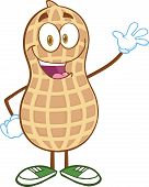 image of ground nut  - Happy Peanut Cartoon Mascot Character Waving For Greeting - JPG