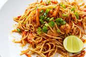 picture of thai cuisine  - Pasta Spaghetti stir fry with Tom Yum Kung sauce Fusion cuisine is at its best when Thai flavours are combined with Italian pasta - JPG