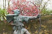 stock photo of red robin  - Robin Hood statue in front of Nottingham Castle  - JPG