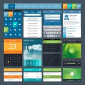 foto of video chat  - Set of flat design ui elements for mobile app and web design - JPG