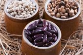 image of pinto bean  - Close up photo of a beans in clay cup  - JPG