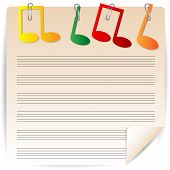 Music Paper Is Decorated By Varicoloured Notes