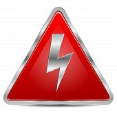 foto of voltage  - high voltage sign on a white background - JPG