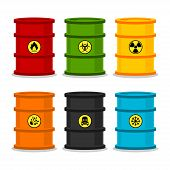 stock photo of decomposition  - Illustration barrels with dangerous substances - JPG
