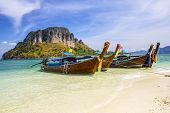 Longboat at Thale Waek (Separated sea) island in Krabi,Thailand.