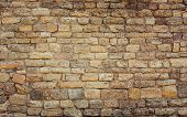 image of brick block  - Old wall made of the Jerusalem stone - JPG