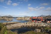 picture of lofoten  - Fishing cabins at Mortsund on the Lofoten Islands Norway - JPG