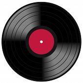 foto of lp  - Image of a vintage and analog 33 RPM LP vinyl disc record with blank red central label for your music copy - JPG
