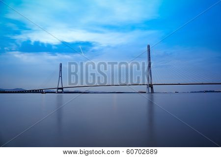 Nanjing Cable Stayed Bridge In Nightfall