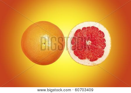 Grapefruit With Colorful Background