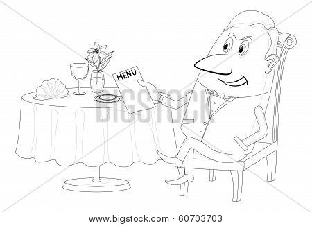 Restaurant, man near table, isolated, contour