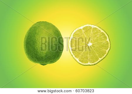 Lime With Colorful Background