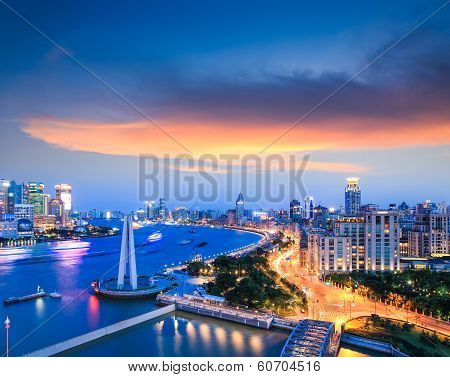 Beautiful Shanghai The Bund With Sunset Clouds