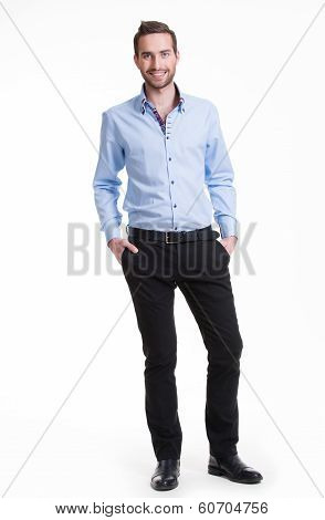 Smiling Happy Man In Blue Shirt.