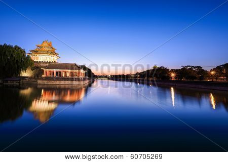 Beijing Moat In Nightfall