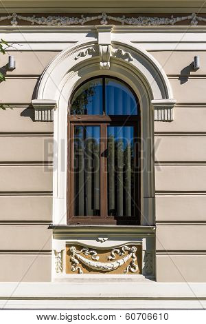 Window. Art Nouveau Building In The Centre Of Riga, The Capital Of Latvia