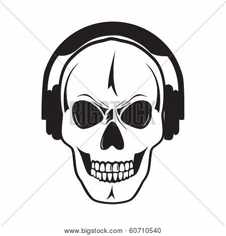 Jolly skull with headphones. Isolated object.?