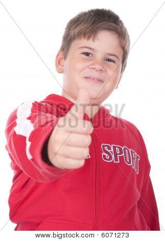 Little Boy Stretches A Finger