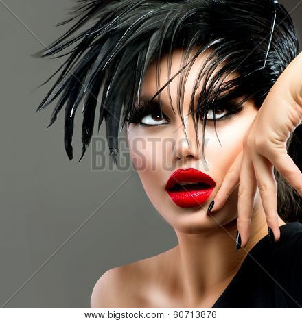 Fashion Art Portrait Of Beautiful Girl. Vogue Style Woman. Hairstyle. Punk Model