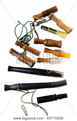 selection of various types of duck & goose calls isolated on white