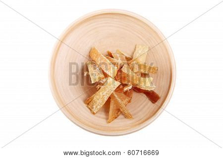 Wooden Plate With Dried Fish, Isolated Image On White Background.