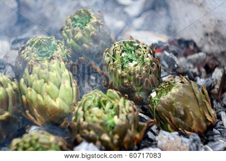 Artichokes On Ember Bbq Close Up